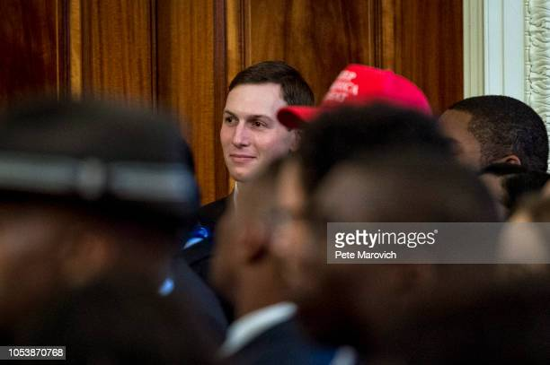 Advisor the the President Jared Kushner looks on as US President Donald Trump addresses young black conservative leaders from across the country as...