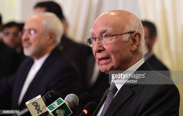 Advisor to Pakistani Prime Minister on Foreign Affairs Sartaj Aziz speaks during a joint briefing with Iranian Foreign Minister Mohammad Javad Zarif...