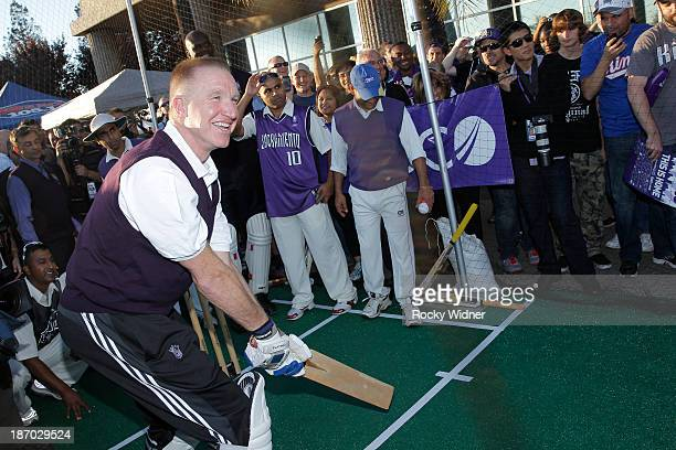 Advisor to the Chairman Chris Mullin of the Sacramento Kings plays cricket prior to the game between the Denver Nuggets and Sacramento Kings on...