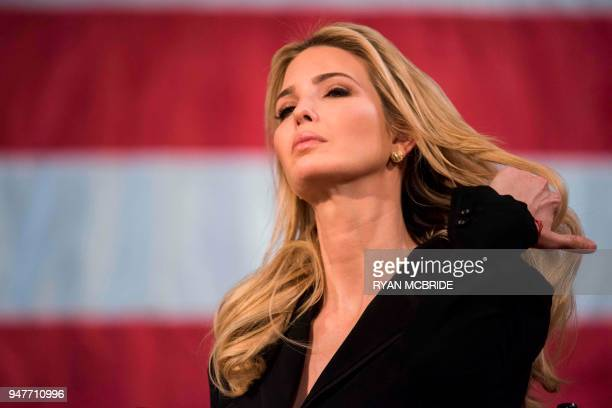Advisor to the President Ivanka Trump speaks at the Derry Opera House during a town hall with residents of Derry New Hampshire on April 17 2018 US...