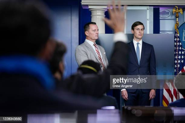 Advisor to the President on SerbiaKosovo Richard Grenell and Senior Advisor to the President Jared Kushner participate during a press briefing at the...