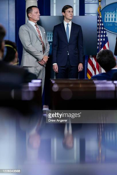 Advisor to the President on SerbiaKosovo Richard Grenell and Senior Advisor to the President Jared Kushner participate in a press briefing at the...