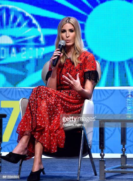 Advisor to the US President and head of the United States delegation Ivanka Trump speaks during a quiz with emerging enterpreneurs on the second day...