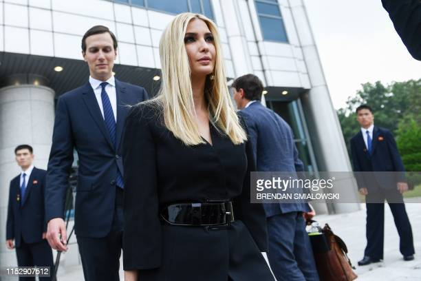 Advisor to the US President Ivanka Trump and US Senior Advisor Jared Kushner walk south of the Military Demarcation Line that divides North and South...