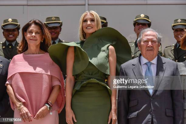 Advisor to the US President Ivanka Trump poses for the family photo along with Vice President of Colombia Marta Lucia Ramirez and Colombia's Minister...
