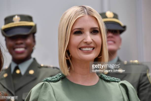 Advisor to the US President Ivanka Trump smiles during a meeting with female police cadets at General Santander National Police Academy on September...
