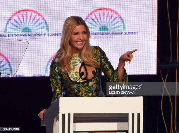 Advisor to the US President Ivanka Trump speaks during the Global Entrepreneurship Summmit at the Hyderabad convention centre in Hyderabad on...
