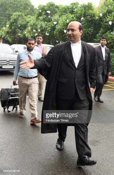 Advocate Ashwini Upadhyay seen shaking hands after the verdict outside the Supreme Court premises on September 25 2018 in New Delhi India The Bar...