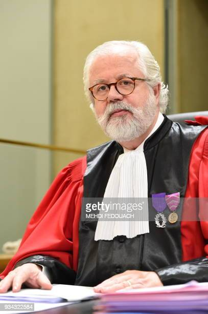 Advocate general Xavier Chavigne poses at the courthouse on March 19 2018 in Bordeaux prior to a hearing of the trial of Ramona Canete accused of the...