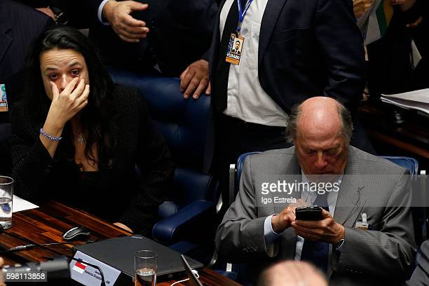 Advocate Miguel Reale and Janaina Paschoal attend the impeachment proceedings of President Dilma Rousseff August 31 2016 in Brasilia Brazil The...
