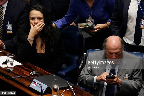 Advocate Miguel Reale and Janaina Paschoal react at the impeachment proceedings of President Dilma Rousseff August 31 2016 in Brasilia Brazil The...