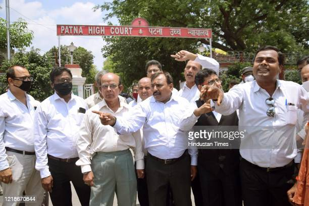 Advocates demonstrating outside Patna High Court in protest against efilling ementioning and virtual hearing during lockdown on June 7 2020 in Patna...