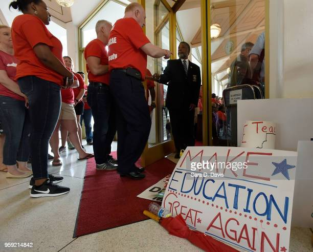 Advocates for education try to get in to the North Carolina House of Representatives on the General Assembly's opening day on May 16 2018 in Raleigh...