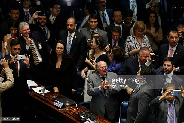 Advocates Miguel Reale and Janaina Paschoal at right celebrate at the impeachment proceedings of President Dilma Rousseff August 31 2016 in Brasilia...