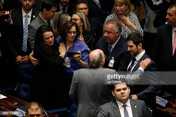 Advocates Miguel Reale and Janaina Paschoal react after the impeachment vote of President Dilma Rousseff August 31 2016 in Brasilia Brazil The...