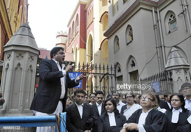 Advocates of Calcutta High Court showing their solidarity with the victim of Ranaghat incident during a protest in front of High Court gate on March...
