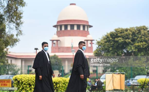Advocates wearing protective masks as a precautionary measure amid rising coronavirus scare, at Supreme court on March 16, 2020 in New Delhi, India.