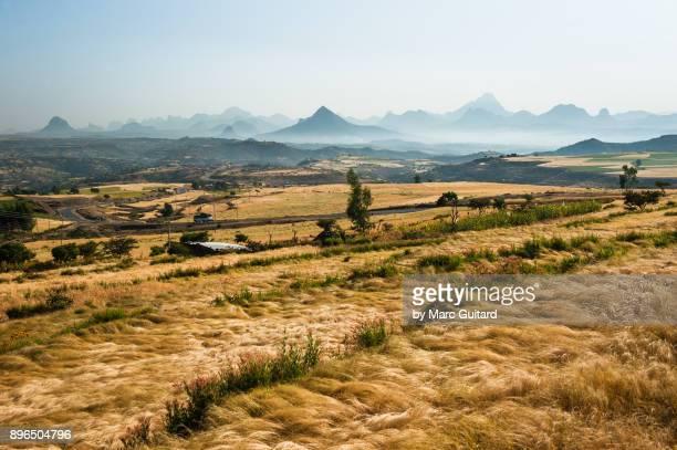 Adwa Mountains and farmland, Tigray, Ethiopia