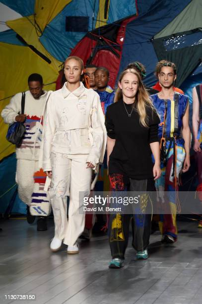 Adwoa Aboah and Bethany Williams attend the Bethany Williams show during London Fashion Week February 2019 at BFC Show Space on February 19, 2019 in...