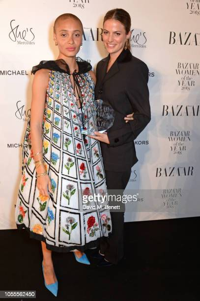 Adwoa Aboah and Cameron Russell attend the Harper's Bazaar Women Of The Year Awards 2018 in partnership with Michael Kors and MercedesBenz at...