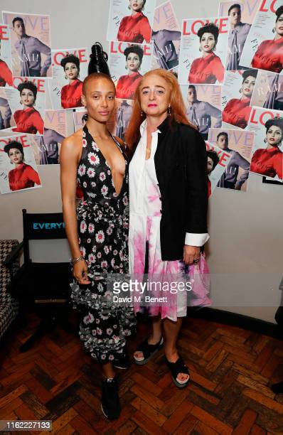Adwoa Aboah and Camilla Lowther attend the #MOVINGLOVE screening hosted by Derek Blasberg Katie Grand at Screen on the Green on July 15 2019 in...
