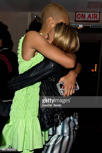 Adwoa Aboah and Cara Delevingne attends the launch of i-D's 'The Female Gaze' issue hosted by Holly Schkleton and Adwoa Aboah during London Fashion...