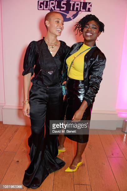 Adwoa Aboah and Clara Amfo attend Adwoa Aboah's Gurls Talk website launch party at Somerset House on October 12 2018 in London England
