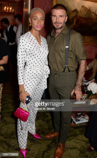 Adwoa Aboah and David Beckham attend as Edward Enninful David Beckham and British Vogue celebrate the 10th anniversary of Victoria Beckham at Mark's...
