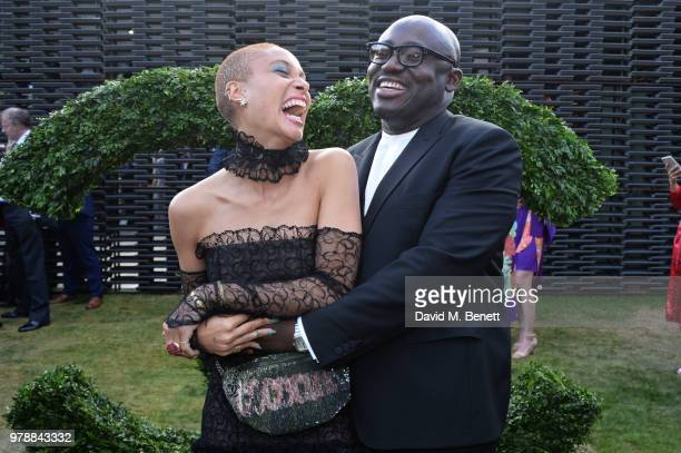 Adwoa Aboah and Edward Enninful attend the annual summer party in partnership with Chanel at The Serpentine Pavilion on June 19 2018 in London England