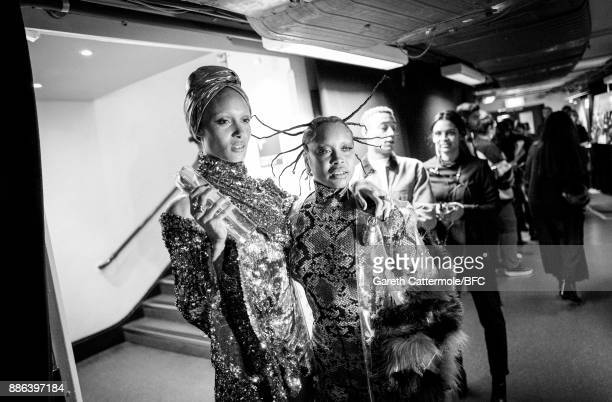 Adwoa Aboah and Erykah Badu pose backstage during The Fashion Awards 2017 in partnership with Swarovski at Royal Albert Hall on December 4 2017 in...