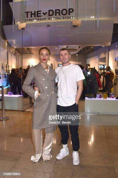 Adwoa Aboah and Felix Cooper attend the opening of 'The Drop' the UK's first streetwear rental space with all profits going towards Save the...
