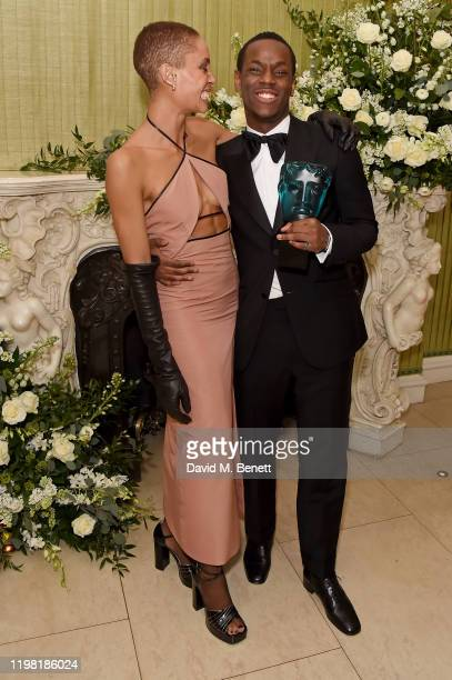 Adwoa Aboah and Micheal Ward attend the British Vogue and Tiffany Co Fashion and Film Party at Annabel's on February 2 2020 in London England