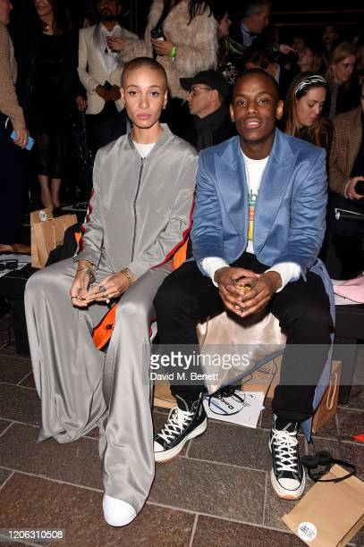 Adwoa Aboah and Micheal Ward attend the Central Saint Martins MA Fashion Show during London Fashion Week February 2020 at Central Saint Martins on...