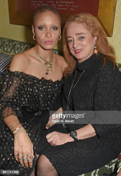 Adwoa Aboah and mother Camilla Lowther attend the Love x Chaos x Poppy Delevingne x Moet Christmas Party at George on December 12 2017 in London...