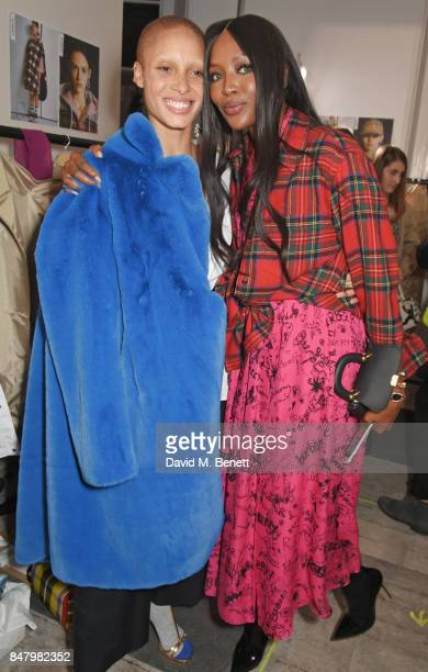 Adwoa Aboah and Naomi Campbell wearing Burberry at the Burberry September 2017 at London Fashion Week at The Old Sessions House on September 16 2017...