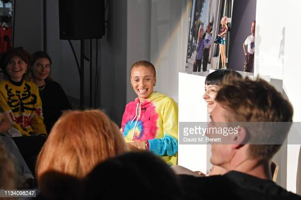 Adwoa Aboah and Olivia Singer attend the Gurls Talk x Barbie event hosted by Adwoa Aboah celebrating their collaboration at Dover Street Market on...
