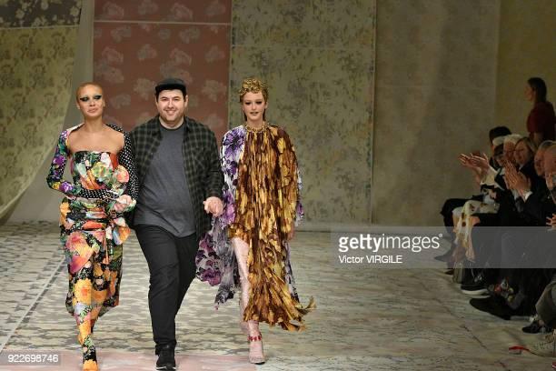 Adwoa Aboah and Richard Quinn walk the runway at the Richard Quinn Ready to Wear Fall/Winter 2018-2019 fashion show during London Fashion Week...