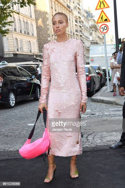 Adwoa Aboah arrives at the 'Vogue Foundation Dinner 2018' at Palais Galleria on July 3 2018 in Paris France