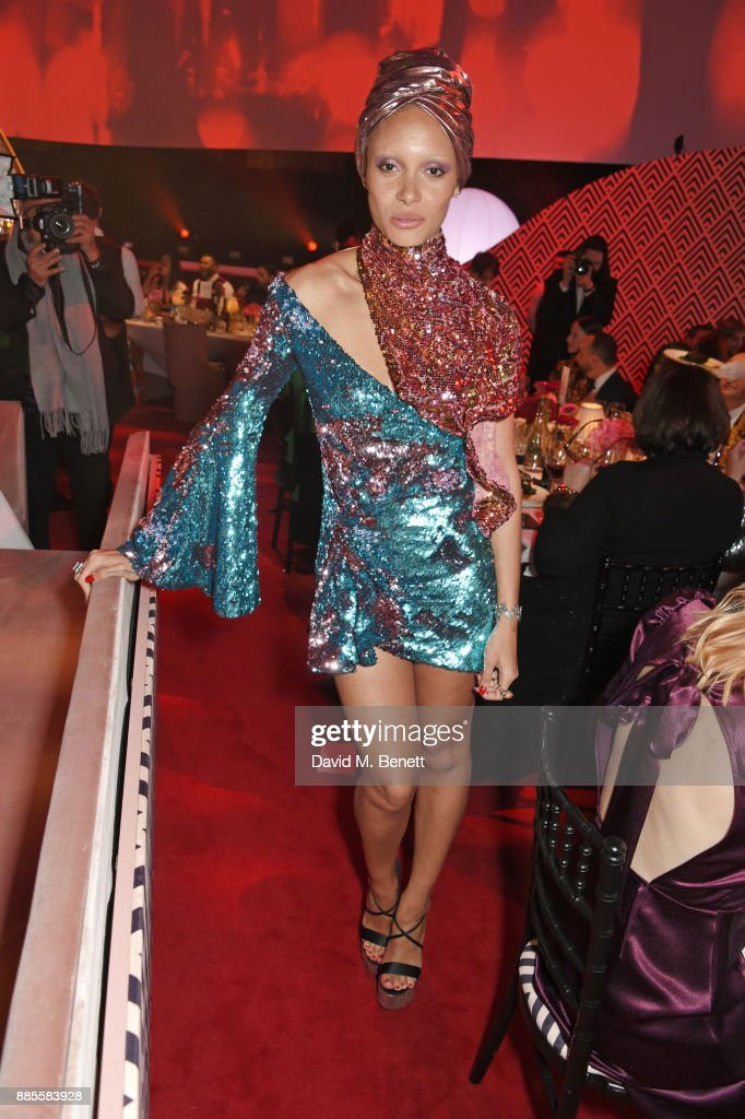 Adwoa Aboah attends a drinks reception ahead of The Fashion Awards 2017 in partnership with Swarovski at Royal Albert Hall on December 4, 2017 in London, England.