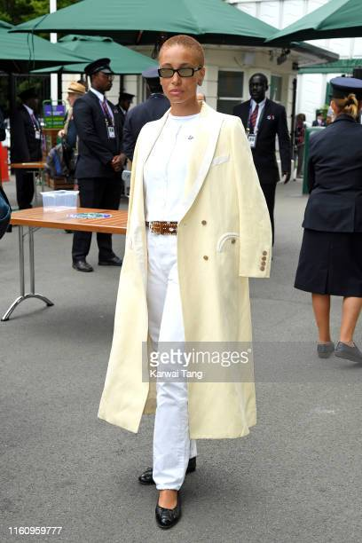 Adwoa Aboah attends day eight of the Wimbledon Tennis Championships at All England Lawn Tennis and Croquet Club on July 09 2019 in London England