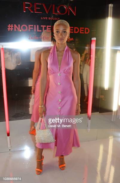 Adwoa Aboah attends the Adwoa Aboah X Revlon 'Live Boldly' party during London Fashion Week September 2018 on September 18, 2018 in London, United...
