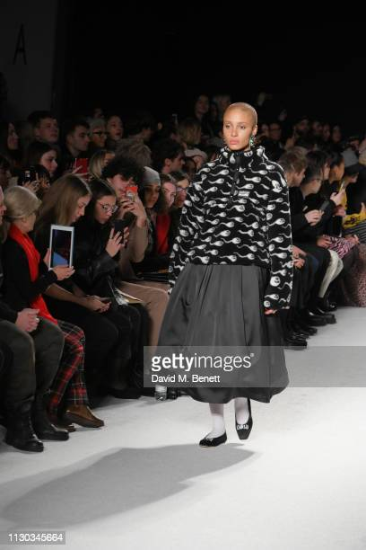 Adwoa Aboah attends the Ashley Williams show during London Fashion Week February 2019 on February 15 2019 in London England