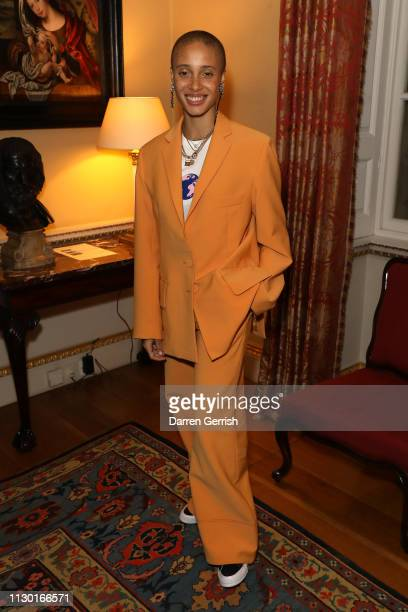 Adwoa Aboah attends the BFC x BBC Earth x Mother of Pearl Present Positive Fashion during London Fashion Week February 2019 at the Spencer House on...