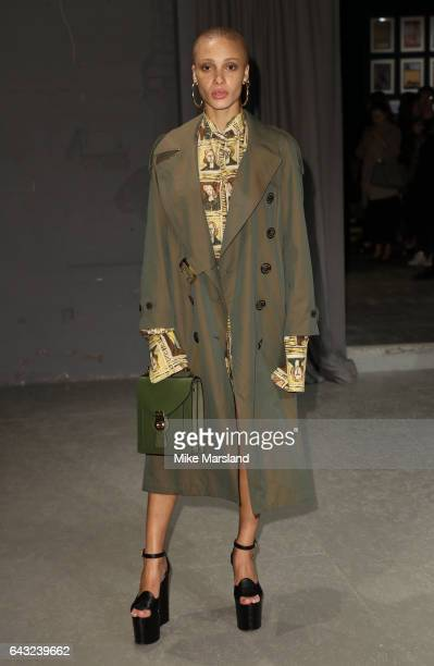 Adwoa Aboah attends the Burberry show during the London Fashion Week February 2017 collections on February 20 2017 in London England