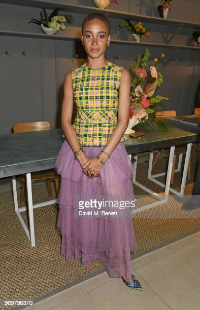 Adwoa Aboah attends the Burberry x Adwoa cocktail party at Thomas's on June 8 2018 in London Englan