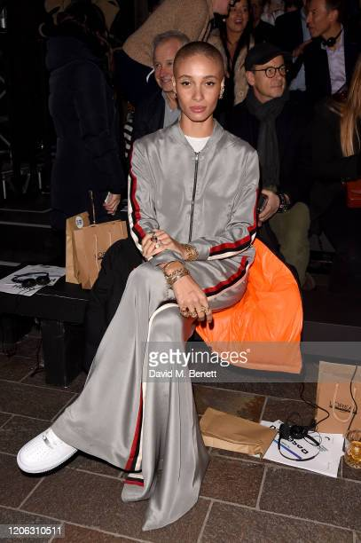 Adwoa Aboah attends the Central Saint Martins MA Fashion Show during London Fashion Week February 2020 at Central Saint Martins on February 14, 2020...