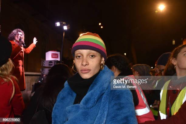 Adwoa Aboah attends the #FreePeriods Protest at Richmond Terrace on December 20 2017 in London England