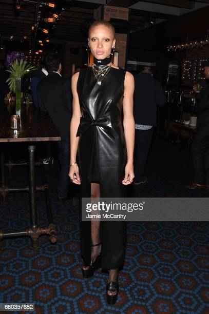 Adwoa Aboah attends the Ghost In The Shell premiere after party hosted by Paramount Pictures DreamWorks Pictures at The Ribbon on March 29 2017 in...