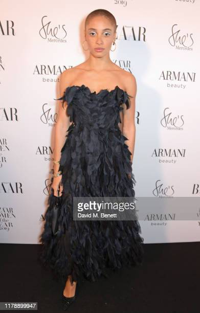 Adwoa Aboah attends the Harper's Bazaar Women of the Year Awards 2019, in partnership with Armani Beauty, at Claridge's Hotel on October 29, 2019 in...