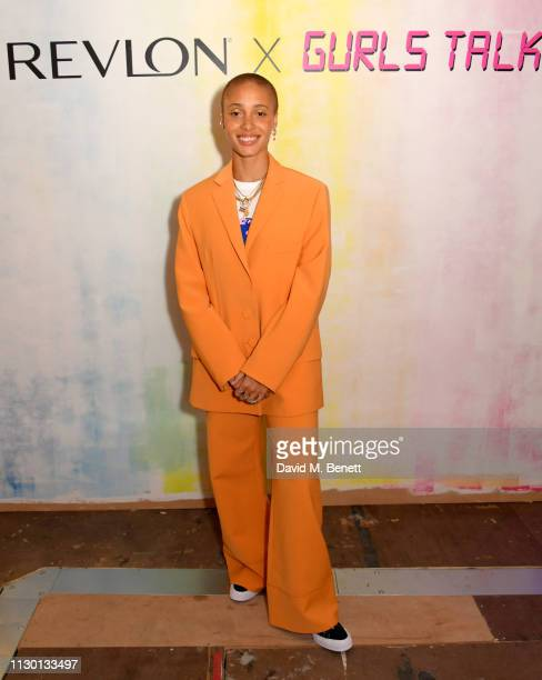 Adwoa Aboah attends the launch celebration of Adwoa Aboah's new Revlon x Gurls Talk limited edition make up kits at Somerset House on February 16...
